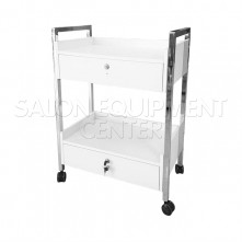 Wood and Chrome Two Drawers Salon Trolley Cart
