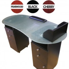 Oval Glass Top Manicure Table
