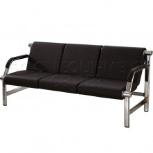 Three Seats Black Reception Bench