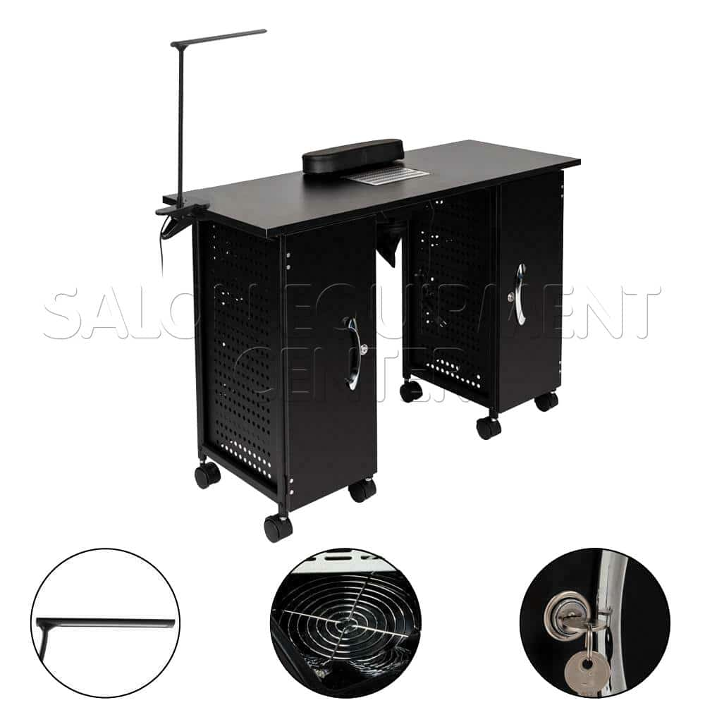 Nail Salon Metal Manicure Table With Vent and LED Lamp